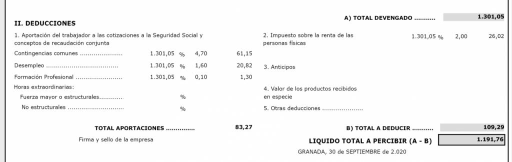 calculo liquidacion total a percibir nomina