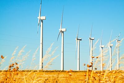 wind farm at farmland
