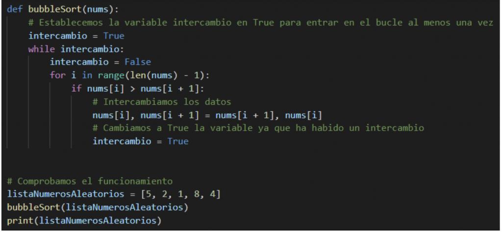 tipos de algoritmos de ordenacion en python