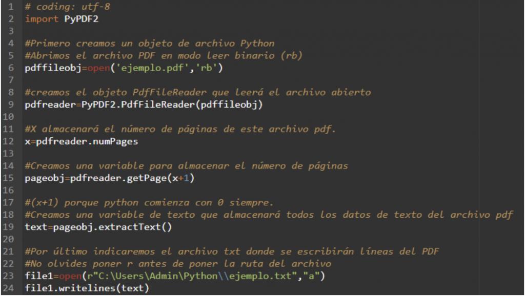 script de python que convertirá un archivo a PDF a txt
